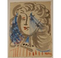 "Carte aquarelle ""Visage"" signée Javier VILATO"
