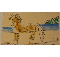 "Carte aquarelle ""Cheval"" signée Javier VILATO 1959"