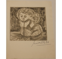 "Litho ""Femme pensive"" signée Javier VILATO"