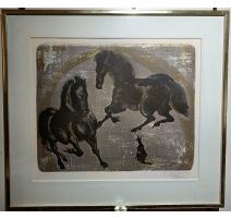"""Lithographie """"Chevaux"""" signée ERNI 84/200"""