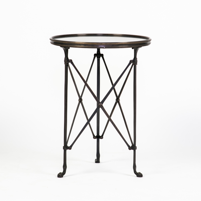 Table d'appoint ronde en bronze et granit noir