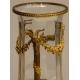 Vase en cristal et monture en laiton Têtes de Bouc