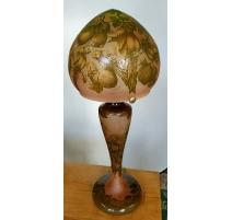 """Lampe style GALLÉ """"Perruches"""" en verre"""
