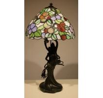 Lampe style Tiffany, pied deux femmes en résine