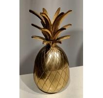 Boite Ananas en aluminium doré