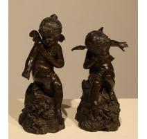 Paire de sculptures Anges signées A. MAYER