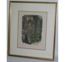 "Swiss print ""Eagle-owl"", signe"