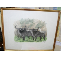 "Engraving ""Couple of buffalo"", signed Robert HAINARD"