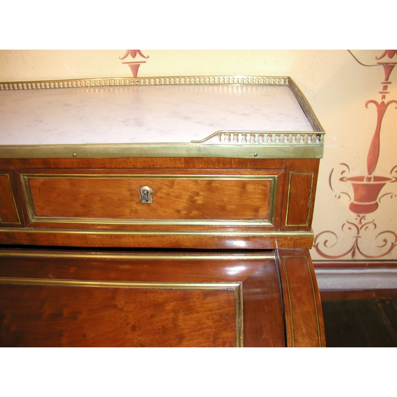 bureau cylindre louis xvi dessus marbre sur moinat sa antiquit s d coration. Black Bedroom Furniture Sets. Home Design Ideas