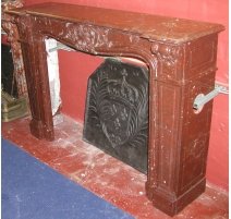 Louis XV fireplace, cherry red.