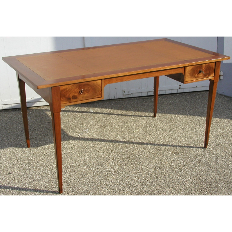 bureau directoire 2 tiroirs dessus cuir brun sur moinat sa antiquit s d coration. Black Bedroom Furniture Sets. Home Design Ideas