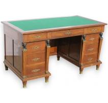 Bureau Empire, 9 tiroirs, dessus feutre vert