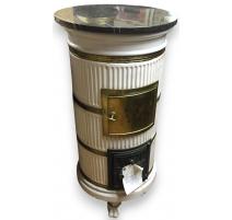 Round stove, white. Black marb