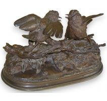 """Bronze """"Deux oiseaux en parade"""