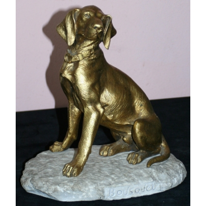 "Bronze ""Dog"" on marble base."