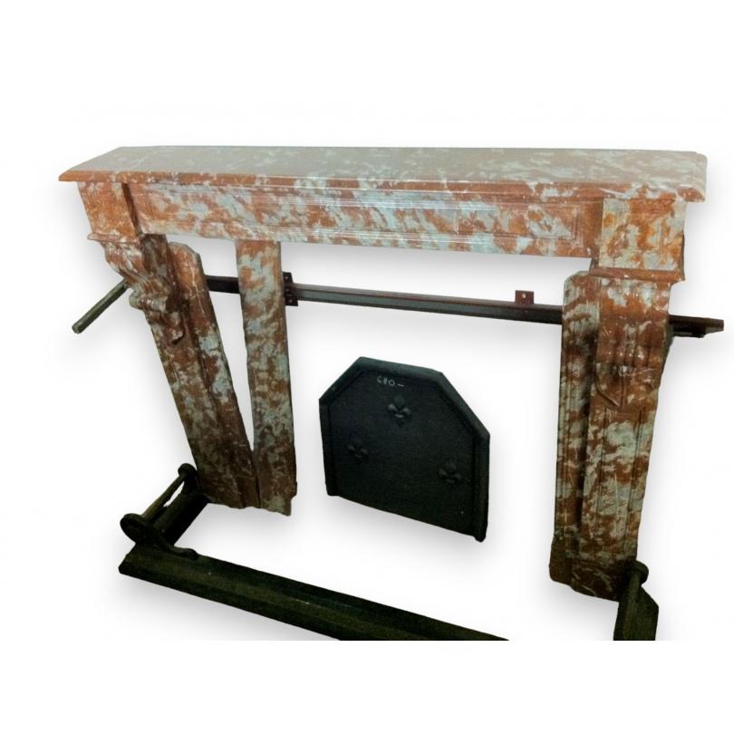 chemin e louis philippe en marbre rouge sur moinat sa antiquit s d coration. Black Bedroom Furniture Sets. Home Design Ideas