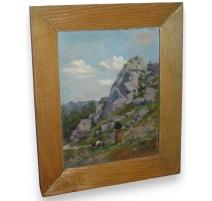 """Gemälde """"Frau mit ziege"""", unterzeichnet DARIER-GUIGON"""