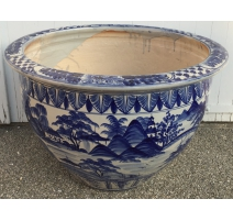 Large cache pot ceramic blue-white