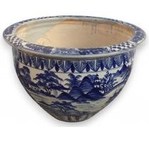 Large cache pot ceramic blue-white