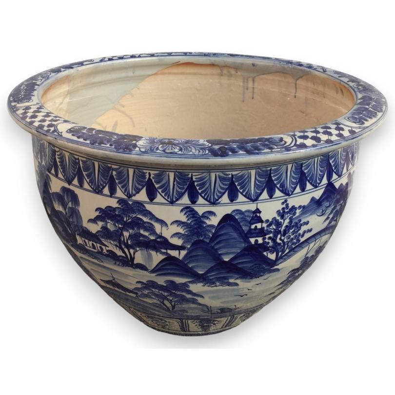 Grand cache pot en céramique bleu-blanc