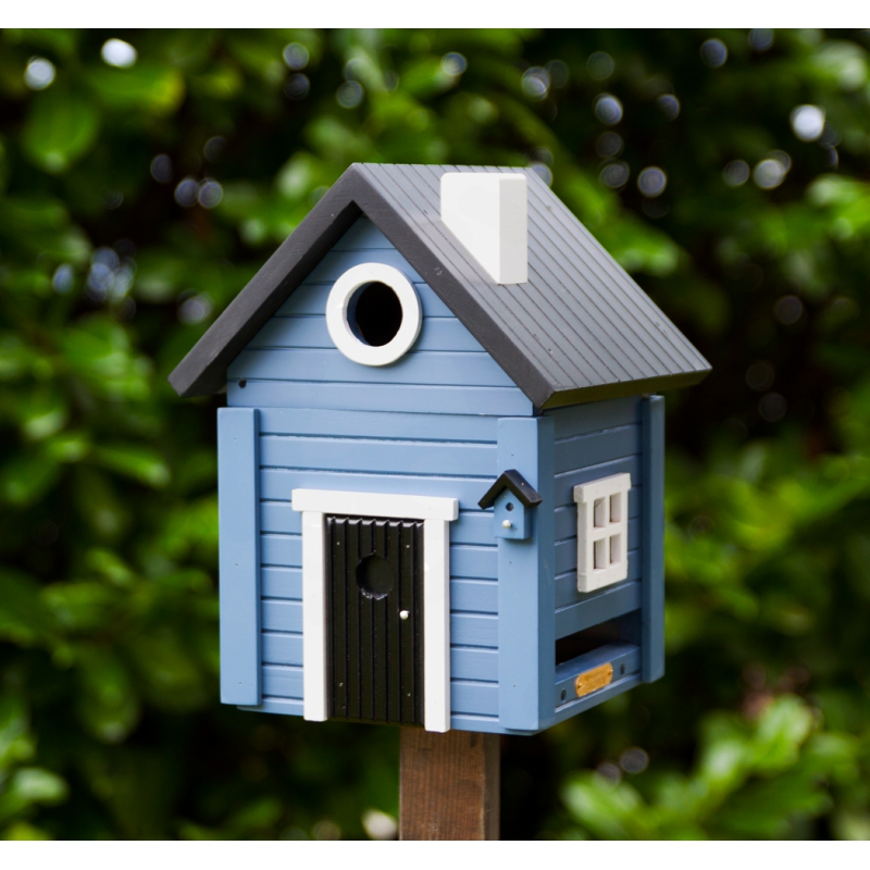 nichoir mangeoire oiseaux bl tt hus bleu sur moinat sa. Black Bedroom Furniture Sets. Home Design Ideas