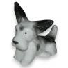 Sculpture Chien couché  Fox Terrier , en porcelain