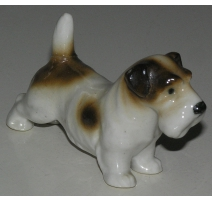 "Sculpture Chien ""Terrier Galois"", en porcelaine"