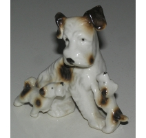 "Sculpture Dog ""Fox Terrier with two puppies""."