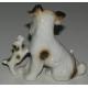Sculpture Chien  Fox Terrier avec deux chiots .