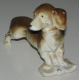Sculpture Chien  Basset , en porcelaine brune.