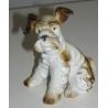 Sculpture Chien assis  Terrier , en porcelaine.