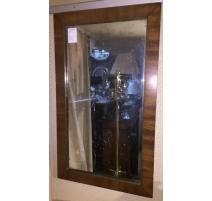 Miroir Directoire en acajou avec moulure en laiton