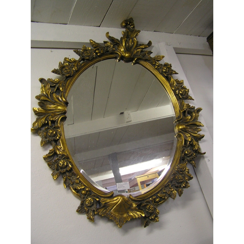 Grand miroir ovale en bois et r sine sur moinat sa for Grand miroir en bois