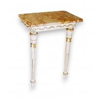Petite console Louis XVI laquée, dessus marbre