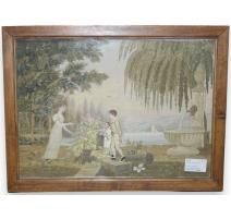 Peinture sur soie brodée  Bord de lac